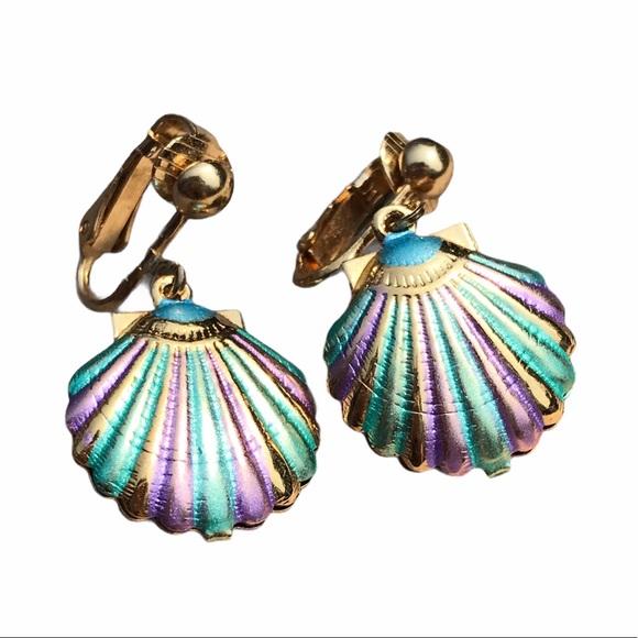 vtg pastel seashell mermaid clip on earrings